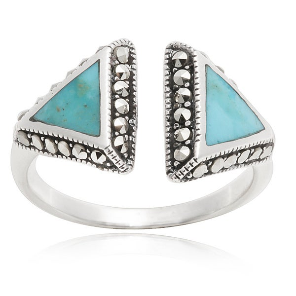 Blue Box Jewels Turqoise Triangle Open Ring