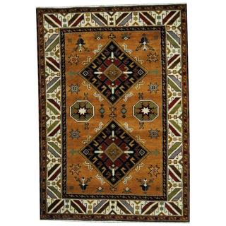Herat Oriental Indo Hand-knotted Tribal Kazak Peach/ Navy Wool Rug (4'8 x 6'8)