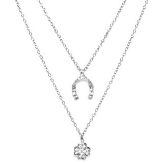 Sterling Silver Double Strand Cubic Zirconia Clover and Wishbone Charm Necklace