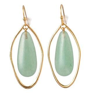 De Buman 18k Rose Goldplated Yellow Jade or 18k Yellow Goldplated Aventurine Earrings