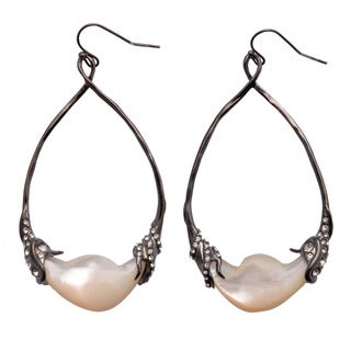 De Buman 18k Yellow Goldplated or Black Rhodium Plated Mother-of-Pearl & Crystal Earrings