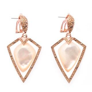 De Buman 18k Yellow Goldplated or 18k Rose Goldplated Mother-of-Pearl Earrings