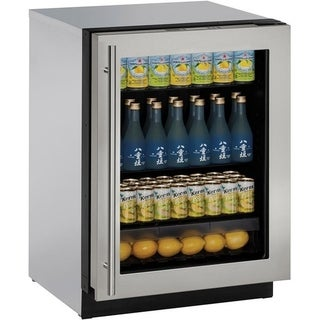 U-Line 3000 Series 3024 - 24 Inch Stainless Steel Framed Glass Door Refrigerator