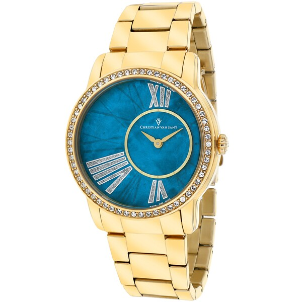 Christian Van Sant Women's CV3612 Exquisite Round Gold-plated Bracelet Watch 14494041