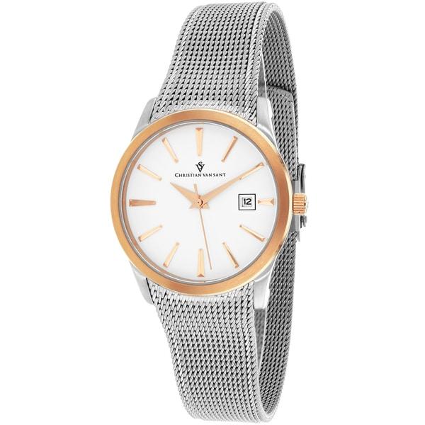 Christian Van Sant Women's CV2415 Skin Round Silver Bracelet Watch