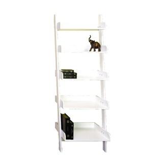 White Five Tier Leaning Ladder Shelf 13089889