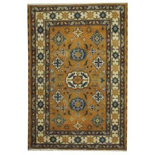 Herat Oriental Indo Hand-knotted Tribal Kazak Peach/ Blue Wool Rug (4'7 x 6')