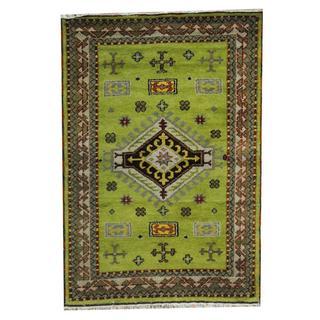 Herat Oriental Indo Hand-knotted Tribal Kazak Green/ Brown Wool Rug (4'2 x 6')