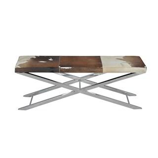 Choco/ White Hide Artisan Cross Bench