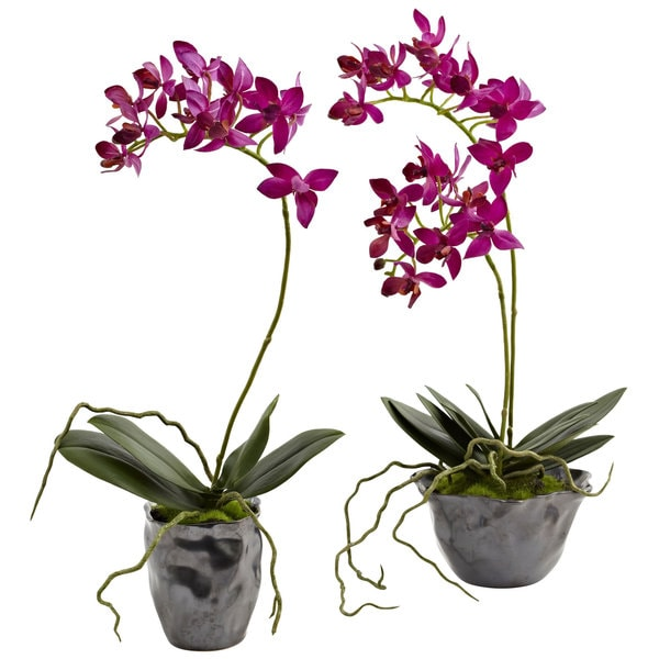 Nearly Natural Orchid Planter (Set of 2)