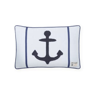 Tommy Hilfiger Navy Blue Embroidered Anchor Decorative Throw Pillow