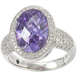 Suzy Levian Sterling Silver Amethyst Colored Cubic Zirconia Checkered Cut Ring