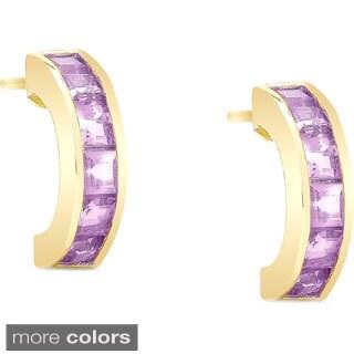 Dolce Giavonna Goldplated Sterling Silver Gemstone Half-Hoop Earrings