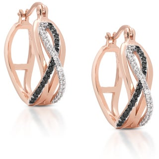 Dolce Giavonna Rose Goldplated Cubic Zirconia Infinity Design Hoop Earrings