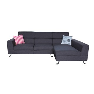 the-Hom Kileen Linen Dark Grey Right Facing Chaise Sectional Sofa