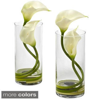 Nearly Natural Double Calla Lily w/Cylinder (Set of 2)