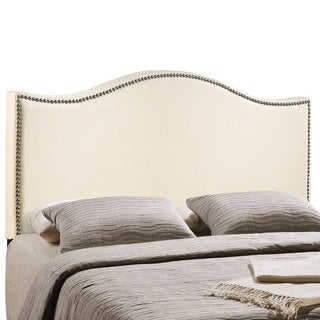 Ivory Curl Nailhead Upholstered Headboard