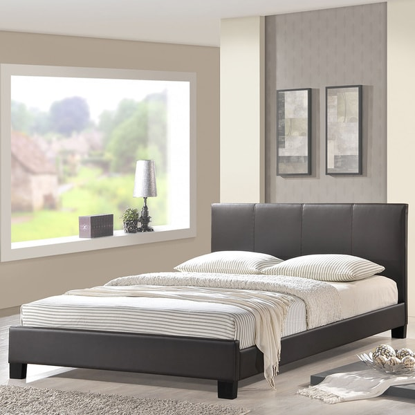 Alex Vinyl Bed Frame in Brown
