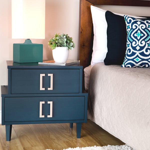 Navy Empire 2-drawer Nightstand