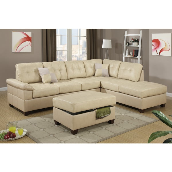 Madan Khaki Bonded Leather Sectional Sofa Set