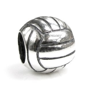 Queenberry Sterling Silver Volleyball European Bead Charm