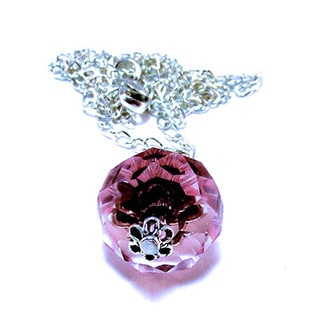 Silverplated Pink Crystal Rose Necklace