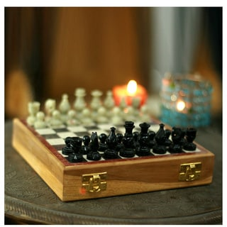 Handcrafted Soapstone 'Royal Tower' Chess Set (India)