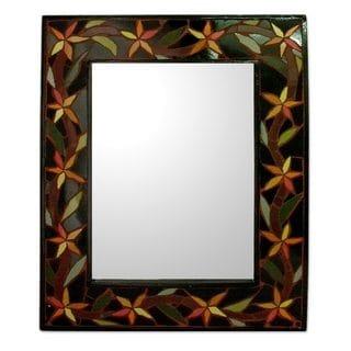 Handcrafted Ceramic 'Daffodil Garland' Mirror (India)