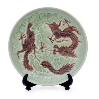 Handcrafted Celadon Ceramic 'Dragon Journeys' Plate (Thailand)