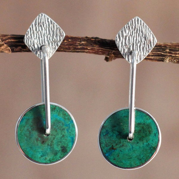 Sterling Silver Chrysocolla 'Opposites Attract' Dangle Earrings (Peru)