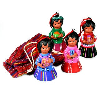 Set of 4 Handcrafted Ceramic 'Shepherds' Ornaments (Guatemala)