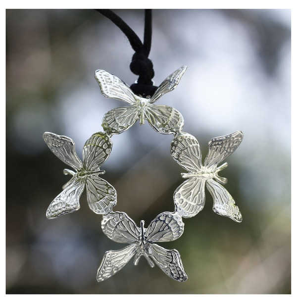 Handcrafted Sterling Silver 'Monarch Butterfly' Necklace (Mexico)