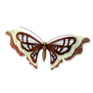 Handcrafted Iron 'Aztec Butterfly' Wall Sculpture (Mexico)