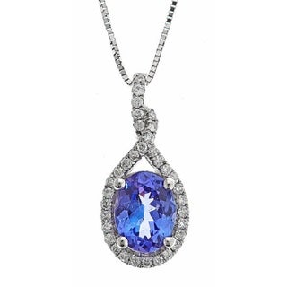 D'yach 14k White Gold 1/5ct TDW Tanzanite and Diamond Pendant (G-H, I1-I2)