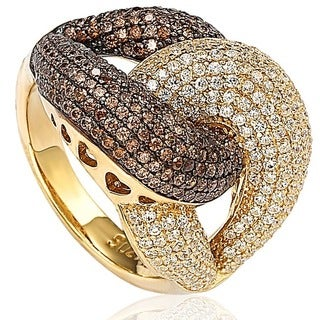 Suzy Levian Goldplated Sterling Silver Chocolate Cubic Zirconia Anniversary Ring