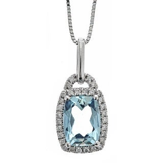 Anika and August 10k White Gold 1/5ct TDW Diamond and Brazilian Aquamarine Pendant (G-H, I1-I2)