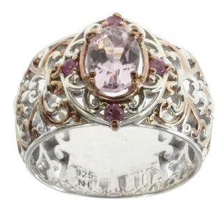 Michael Valitutti Palladium Silver Kunzite and Pink Sapphire Ring
