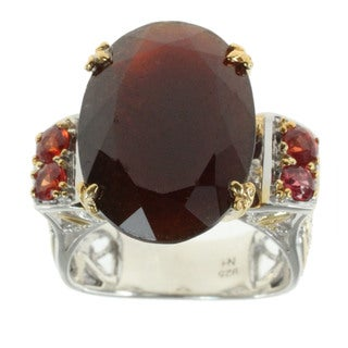 Michael Valitutti Hessonite Garnet Ring with Sapphire Accents
