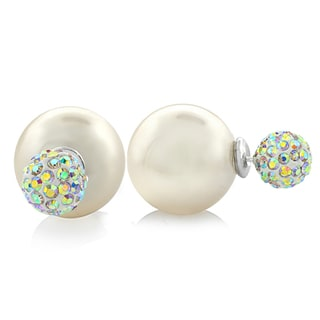 Glitzy Rocks Front and Back Swarovski Elements Fireball with Faux Pearl Stud Earrings