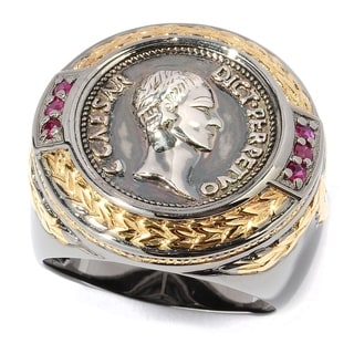 Michael Valitutti Men's Coin and Ruby Ring