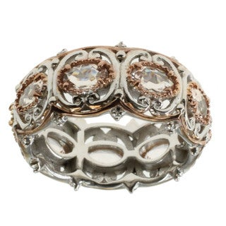 Michael Valitutti Two-tone Oval Morganite Eternity Band Ring