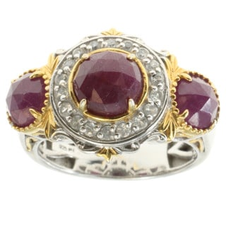 Michael Valitutti Palladium Silver Rose Cut Ruby and White Zircon Ring