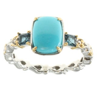 Michael Valitutti Palladium Silver Turquoise and London Blue Topaz Ring