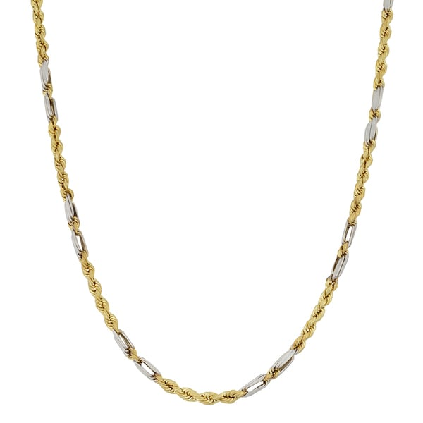 Fremada 10k Two-tone Gold Baguette Rope Link Chain Necklace