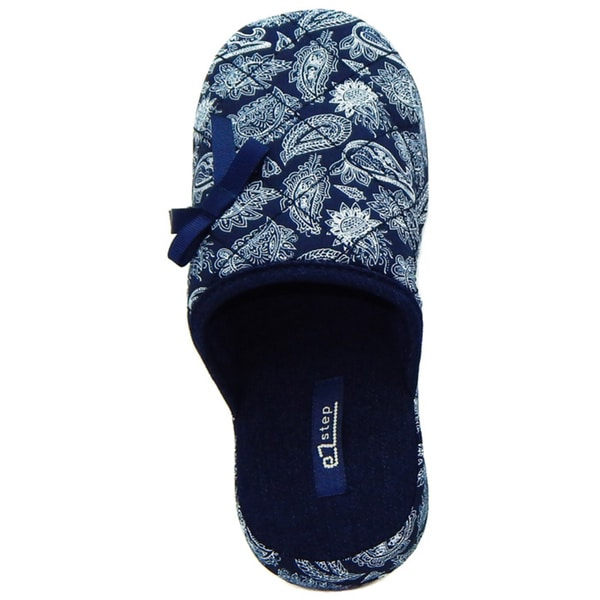 Vecceli Women's Blue Paisley Print Slippers