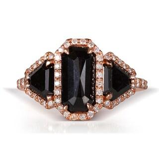 Annello 14k Rose Gold 3 1/5ct TDW Radiant Trillion-cut Black and White Diamond Ring (G-H, I1-I2)