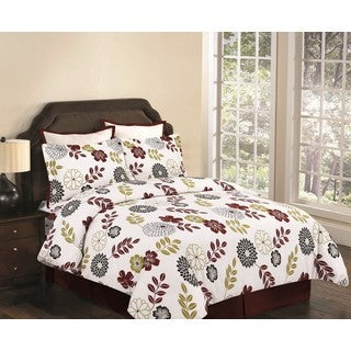 Floral 3-piece Flannel Duvet Cover Set