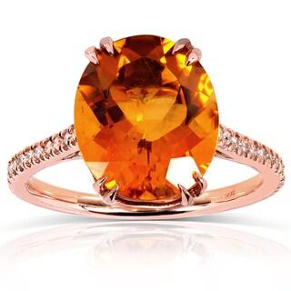 Annello 14k Rose Gold Oval-cut Orange Citrine and 1/6ct TDW Diamond Ring (G-H, I1-I2)