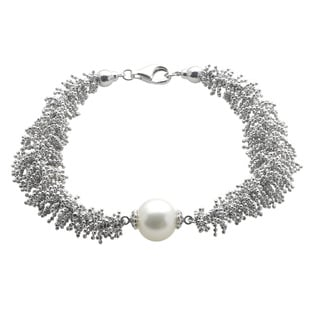 Pearls For You Sterling Silver Lace Freshwater Pearl Bracelet (9.5-10.5 mm)
