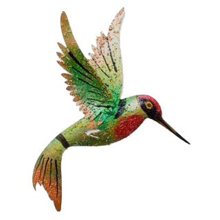 Handcrafted Iron 'Little Emerald Hummingbird' Wall Sculpture (Mexico)